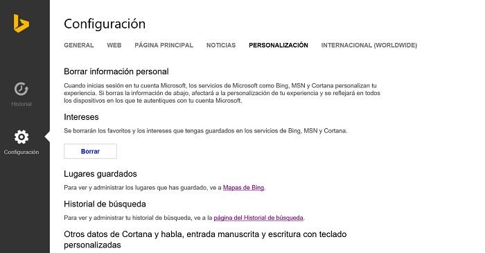 Datos personales Cortana en Windows 10