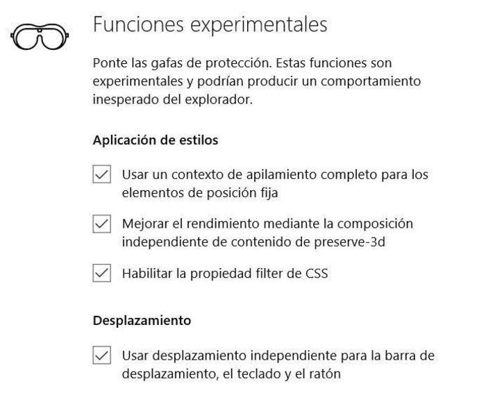 Microsoft Edge configuracion avanzada