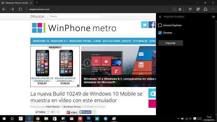 Microsoft Edge importar marcadores