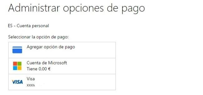 Tienda Windows 10 asignar método de pago