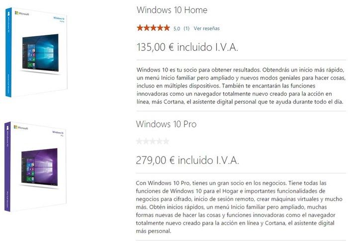 Windows 10 Home y Pro precios