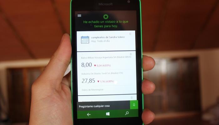 Asistente de Microsoft en Windows 10 Mobile