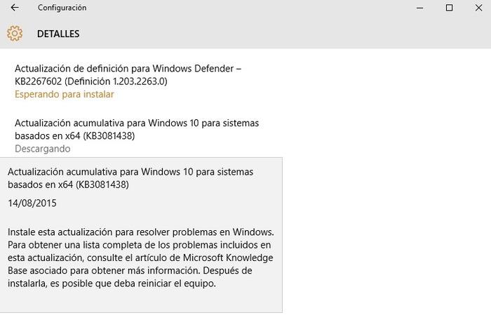 Windows 10 actualización KB3081438 descripcion