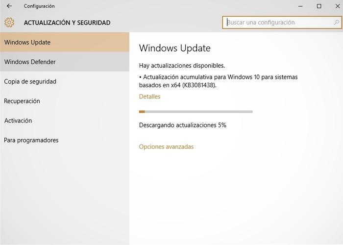 Windows 10 actualización KB3081438