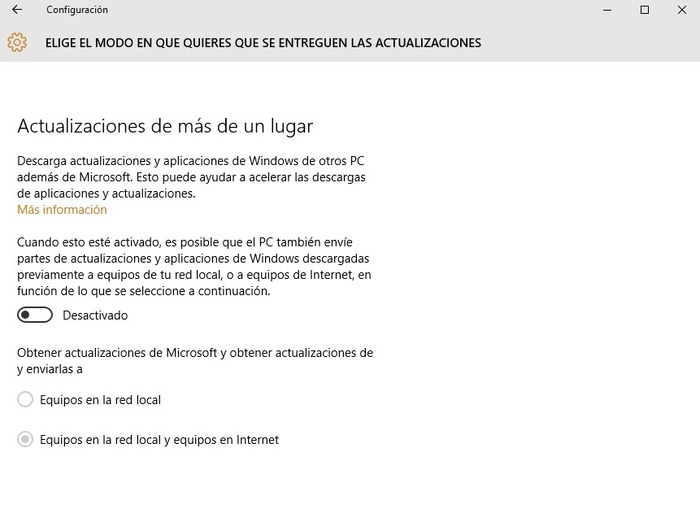 Windows 10 desactivar actualizaciones P2P