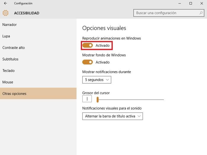 Windows 10 desactivar animaciones
