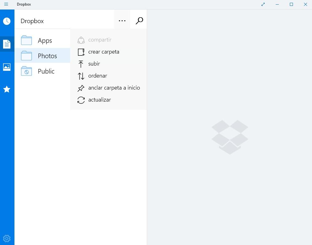 Dropbox windows 10 captura