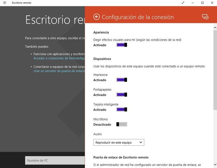 Escritorio remoto Microsoft captura 2