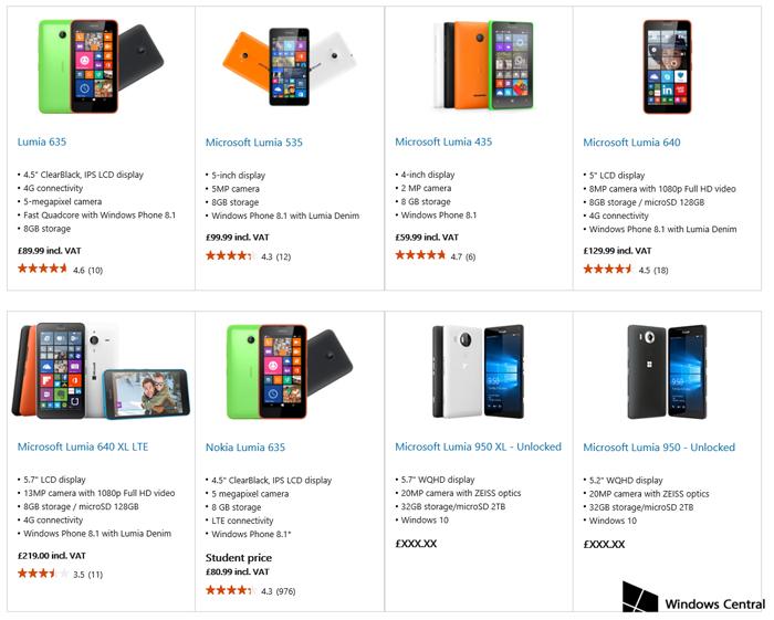 Lumia 950 y 950 xl en microsoft store
