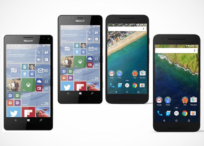 Nexus 5x y 6p vs Lumia 950 y 950 xl