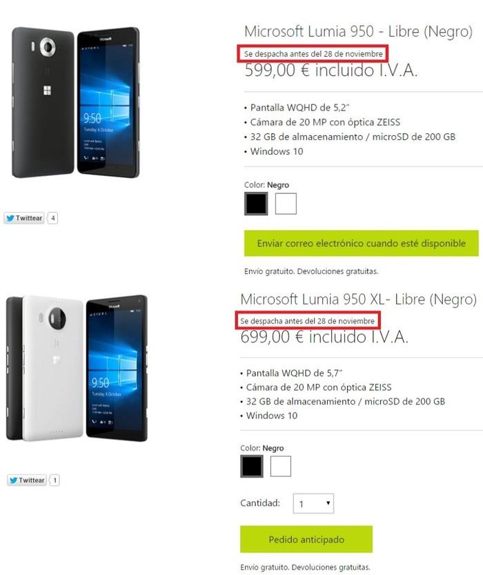 Lumia 950 y 950 XL disponibilidad España
