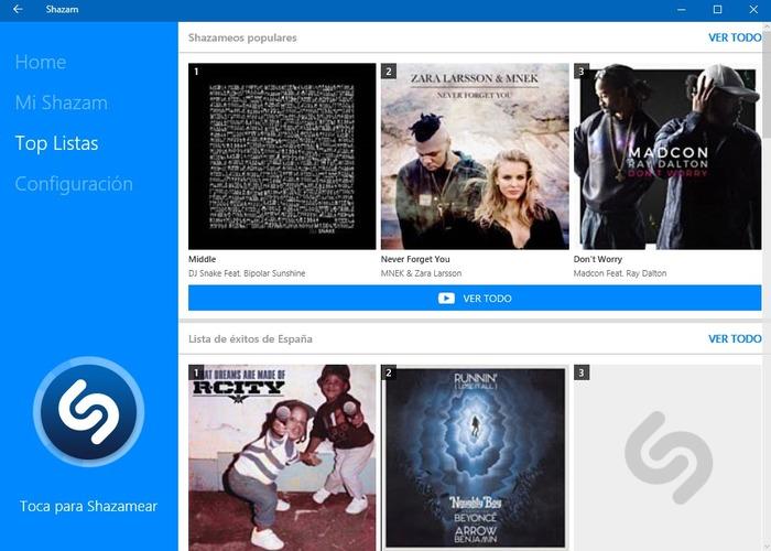 Shazam Windows 10 captura