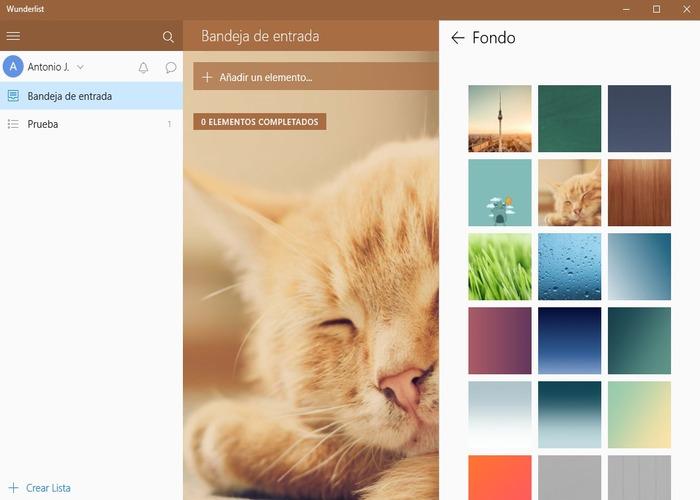 Wunderlist Windows 10 cabecera