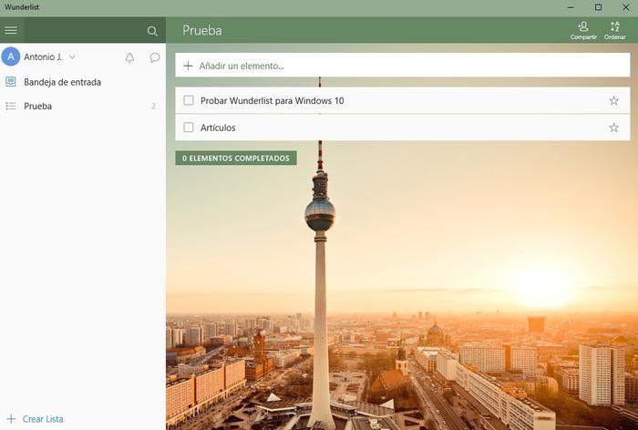 Wunderlist Windows 10 captura
