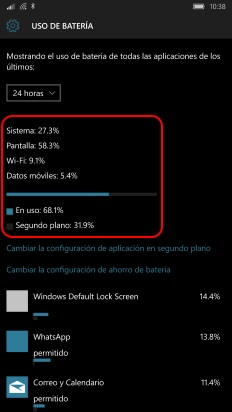 detalles consumo batería windows 10 mobile