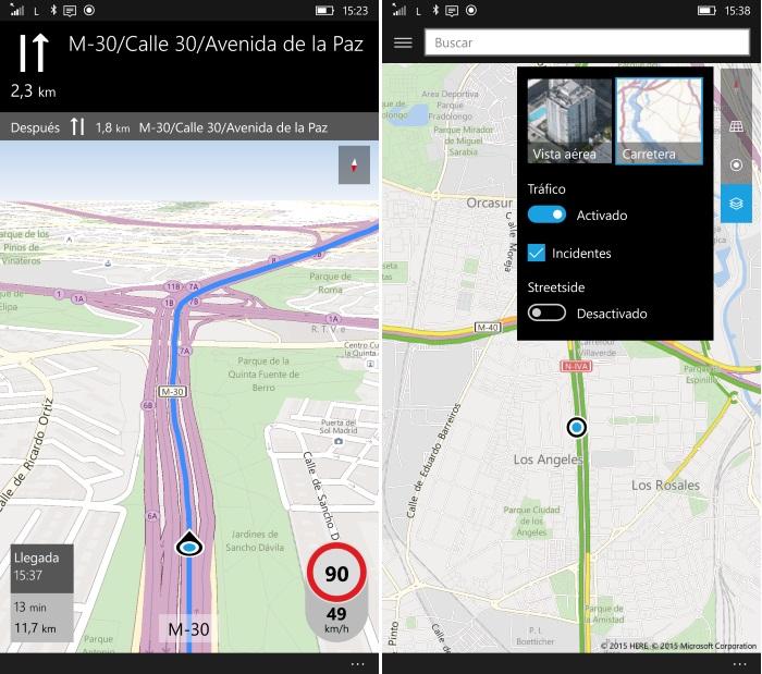 mapas windows 10 mobile navegación