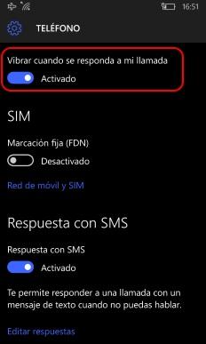 windows 10 mobile vibrar al responder llamadas