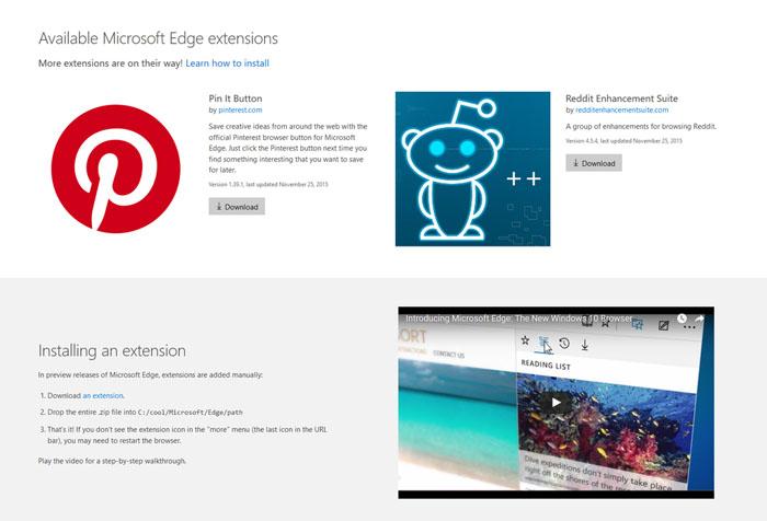 Microsoft edge Extensiones imagen