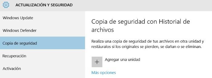 historial de archivos agregar unidad