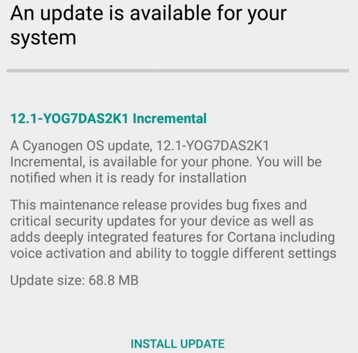 Cortana Cyanogen OS actualización