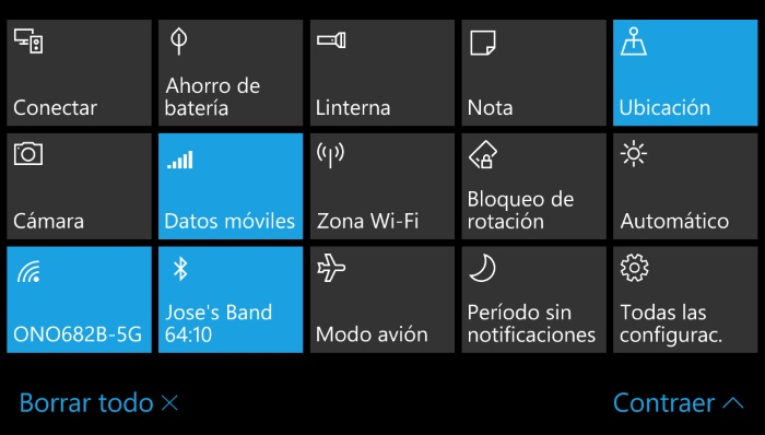 acciones rápidas windows 10 mobile