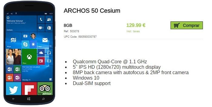 archos 50 cesium precio