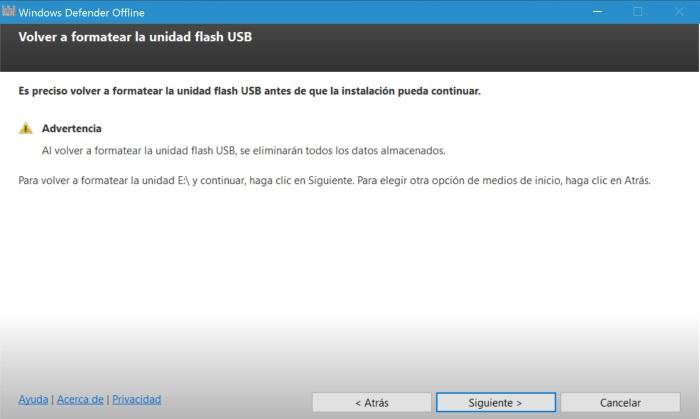 windows defender offline formatear
