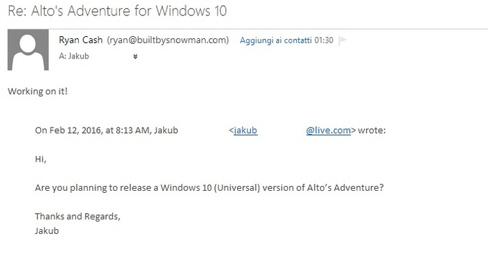 Alto's Adventure confirmado windows 10