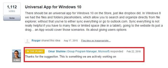 OneDrive aplicacion universal