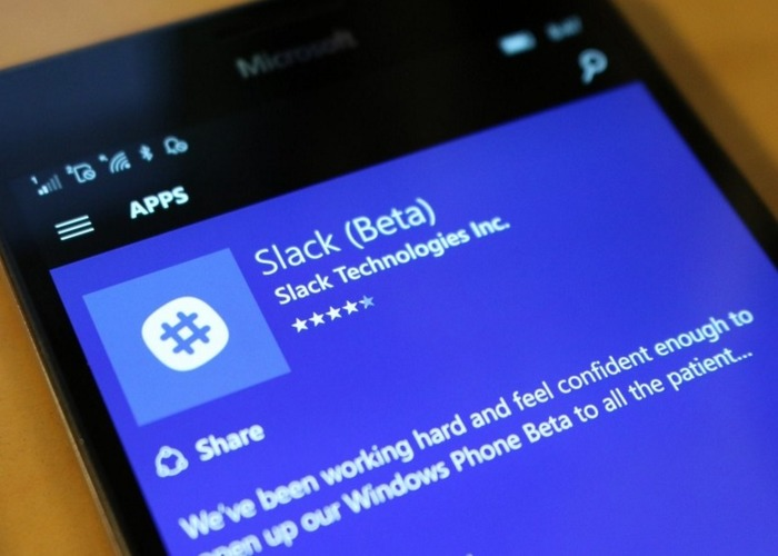 Slack Beta Windows Phone