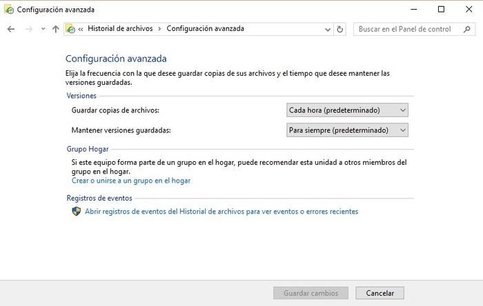Historial de archivos Windows 10-1