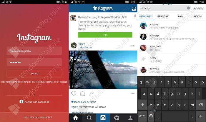 Instagram Windows 10 Mobile Beta
