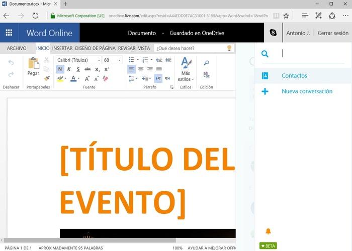Skype Word Online cabecera