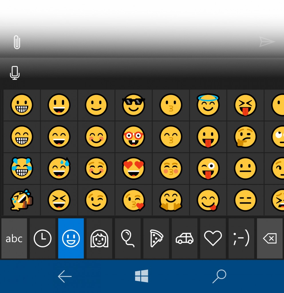 Emojis Windows 10 Mobile Redstone