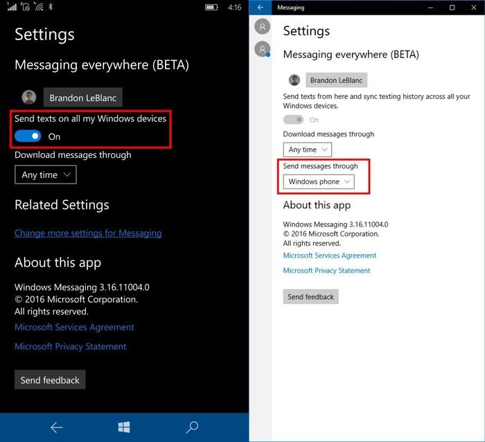 Mensajes todas partes Windows 10 Mobile