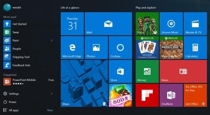 Windows 10 menu inicio ahora