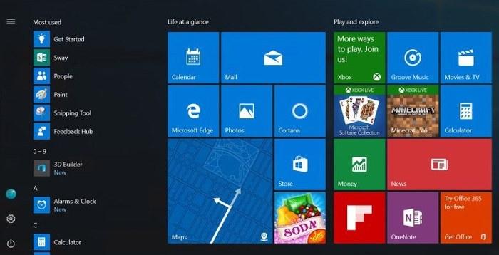 Windows 10 menu inicio rediseñado