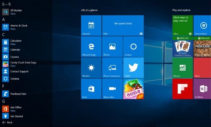 Windows 10 todas las aplicaciones