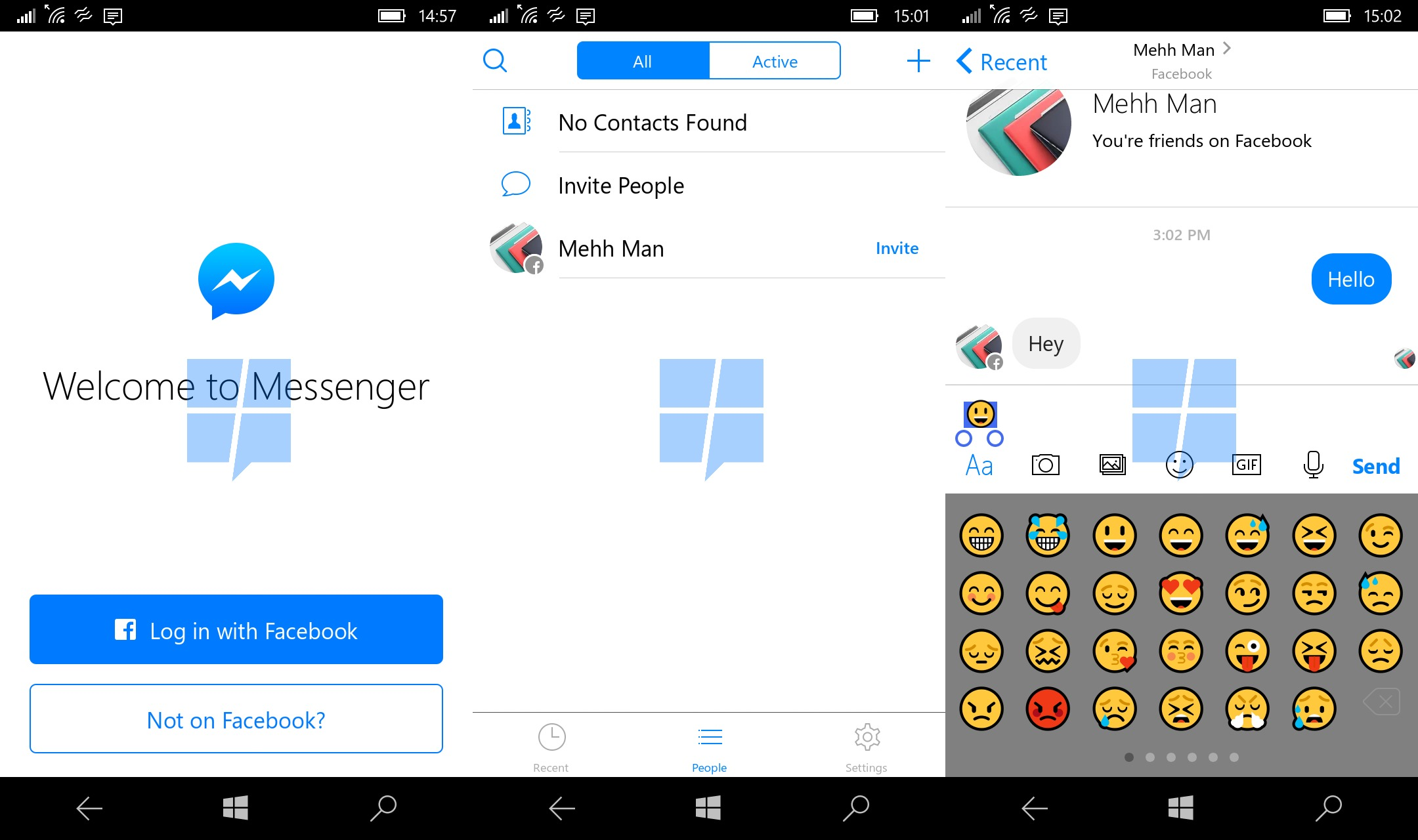 How to call on facebook messenger on windows phone