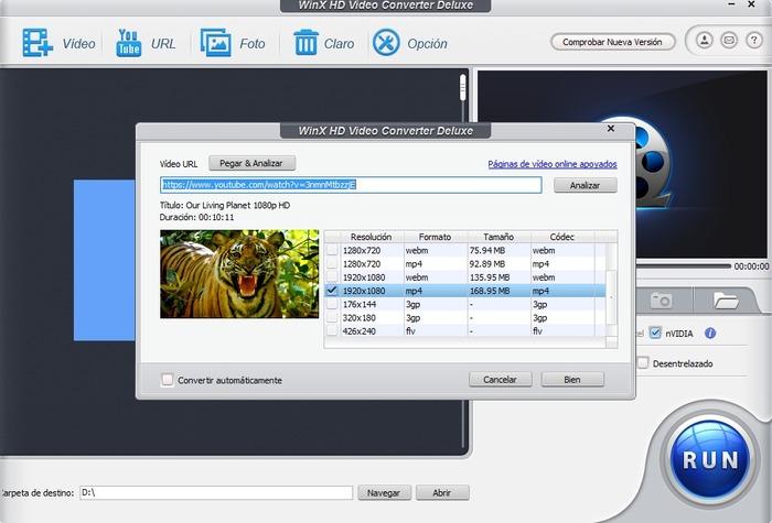 WinX HD Video Converter Deluxe captura 1