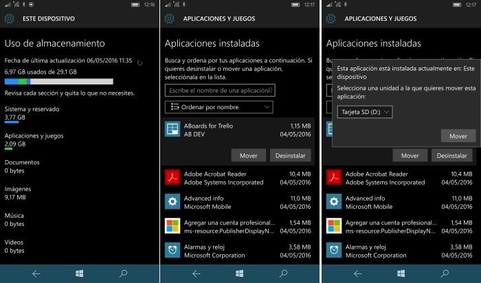 mover aplicacion a tarjeta sd o memoria interna windows 10 mobile