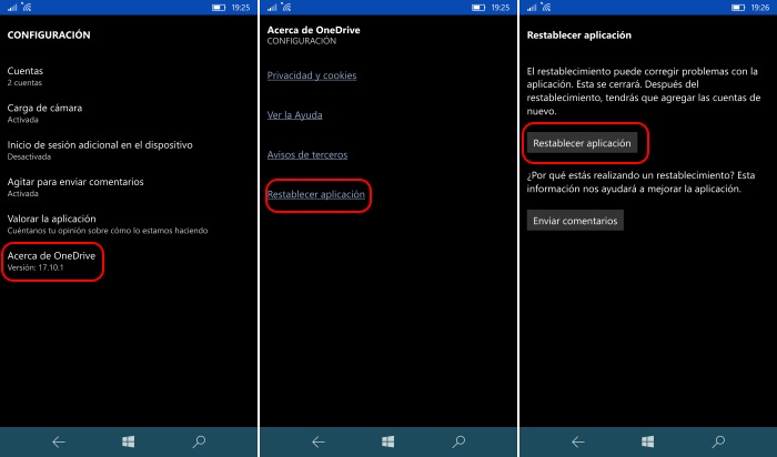 restablecer onedrive windows 10 mobile