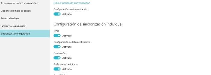 Sincronización Windows 10