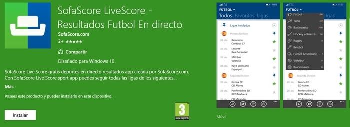 SofaScore Windows 10