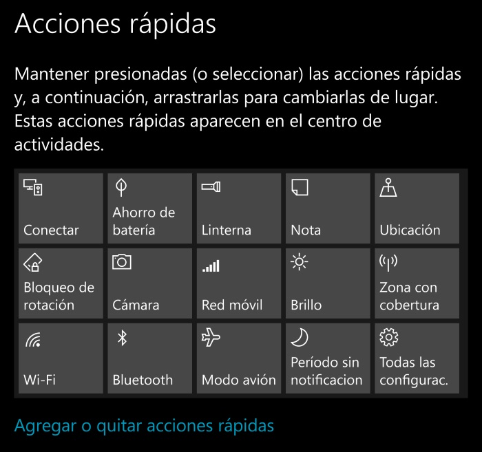 acciones rapidas windows 10 mobile anniversary update
