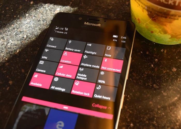 centro accion windows 10 mobile
