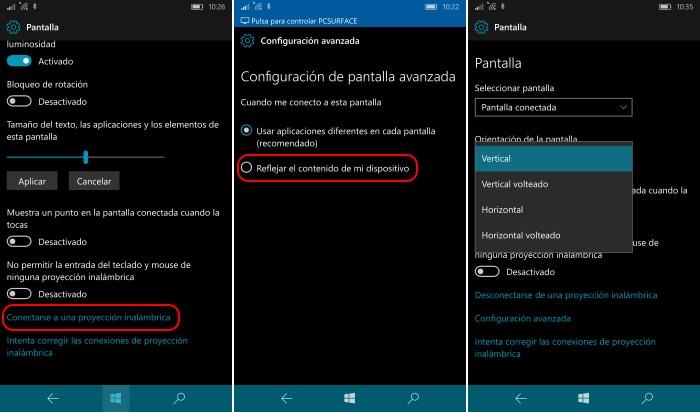 conexion miracast windows 10 mobile