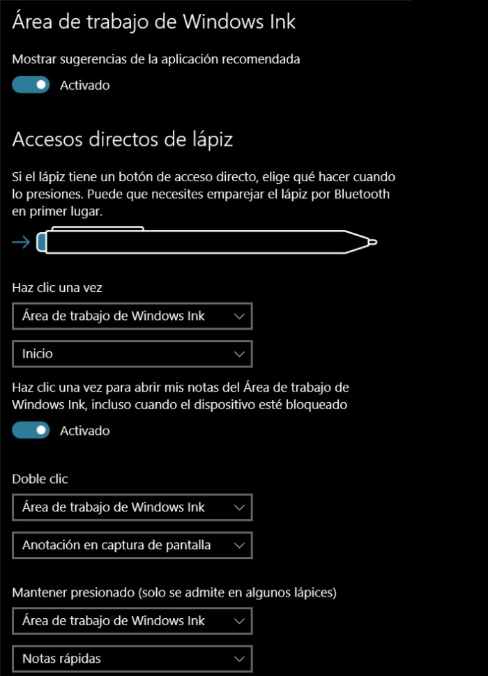 configuración lápiz y windows ink