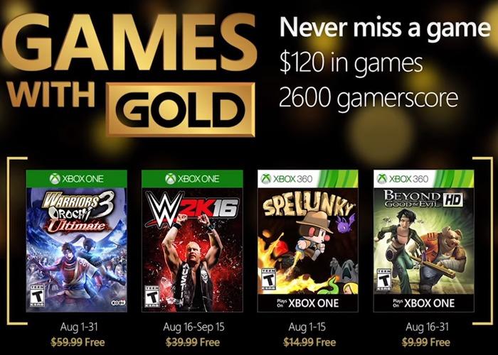 juegos con gold agosto 2016