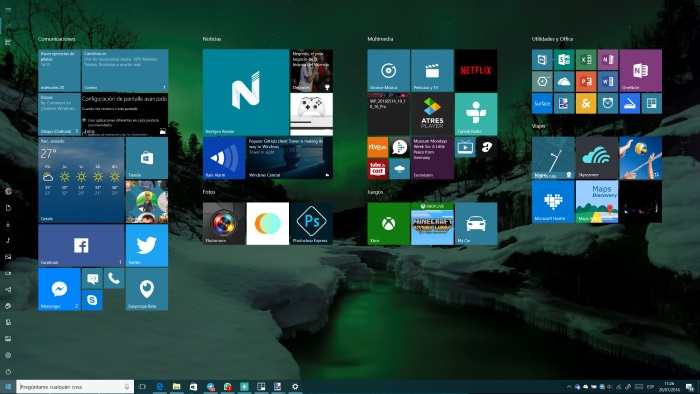 menu inicio modo tableta windows 10 anniversary